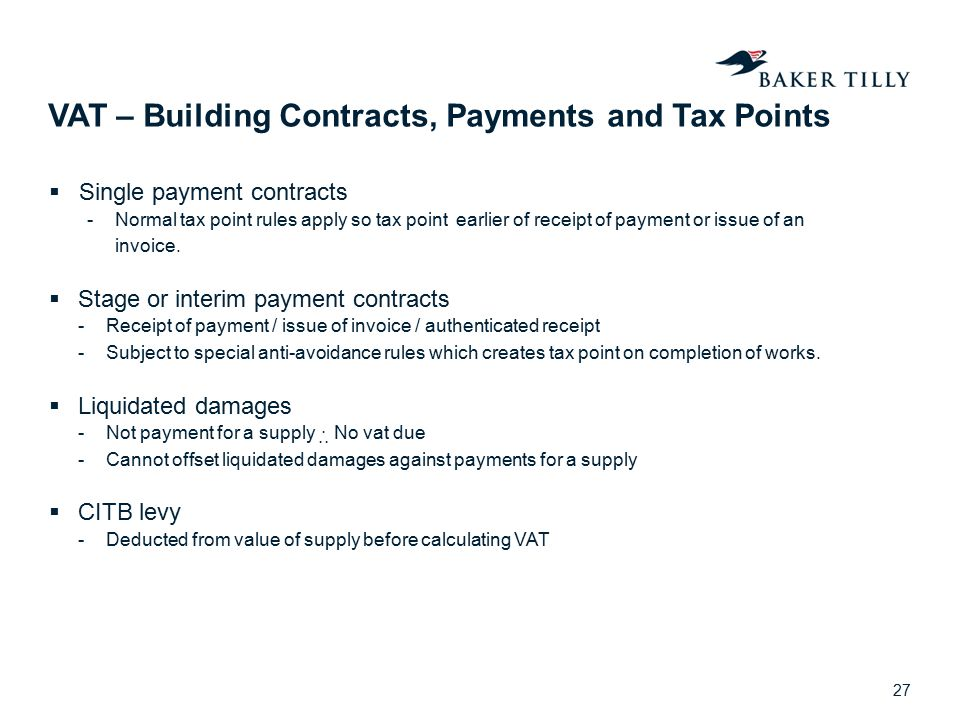 VAT – Building Contracts, Payments and Tax Points