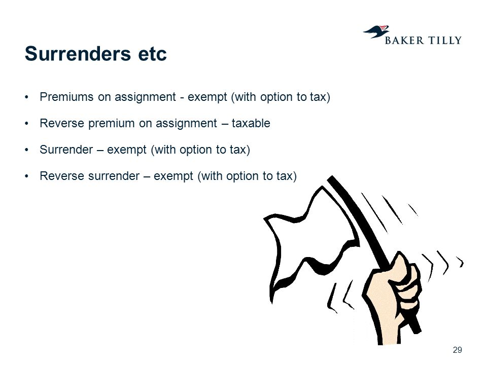 Surrenders etc Premiums on assignment - exempt (with option to tax)