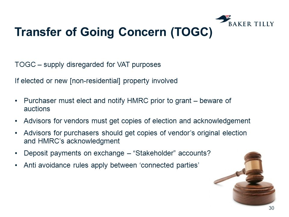 Transfer of Going Concern (TOGC)
