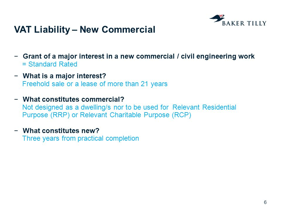 VAT Liability – New Commercial