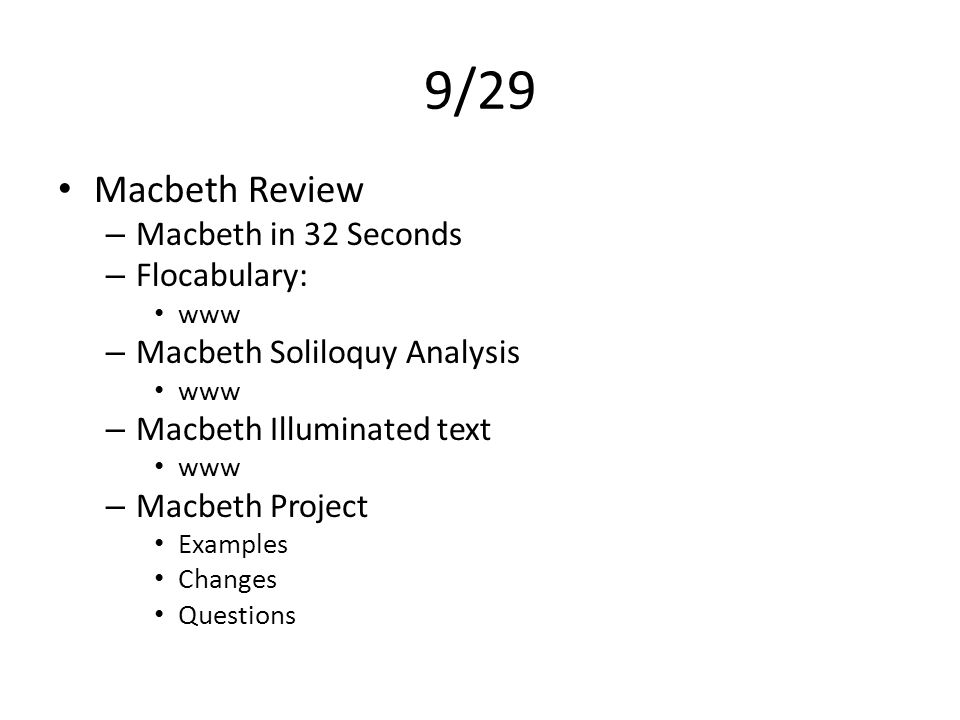 9/29 Macbeth Review Macbeth in 32 Seconds Flocabulary: