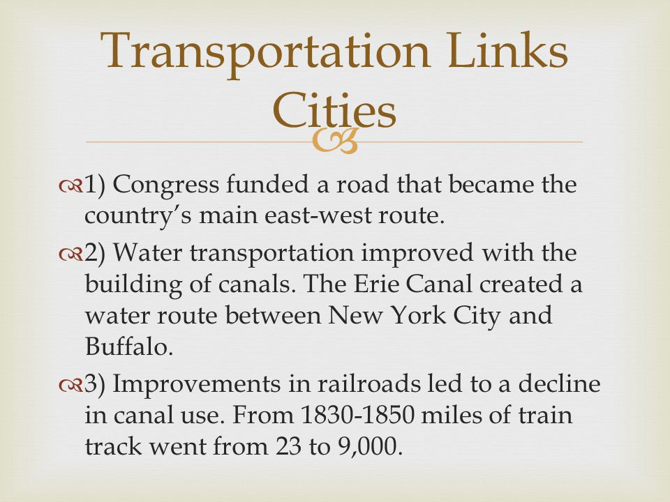 Transportation Links Cities