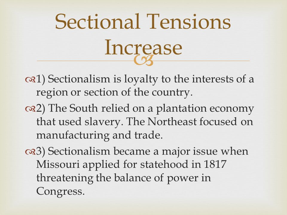 Sectional Tensions Increase