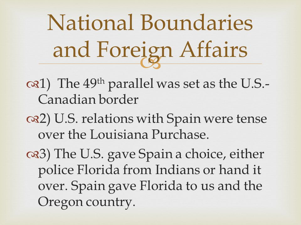 National Boundaries and Foreign Affairs