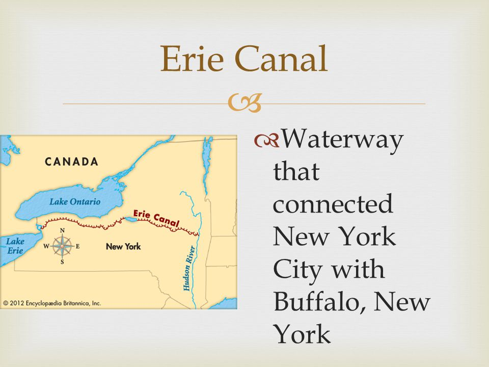 Erie Canal Waterway that connected New York City with Buffalo, New York