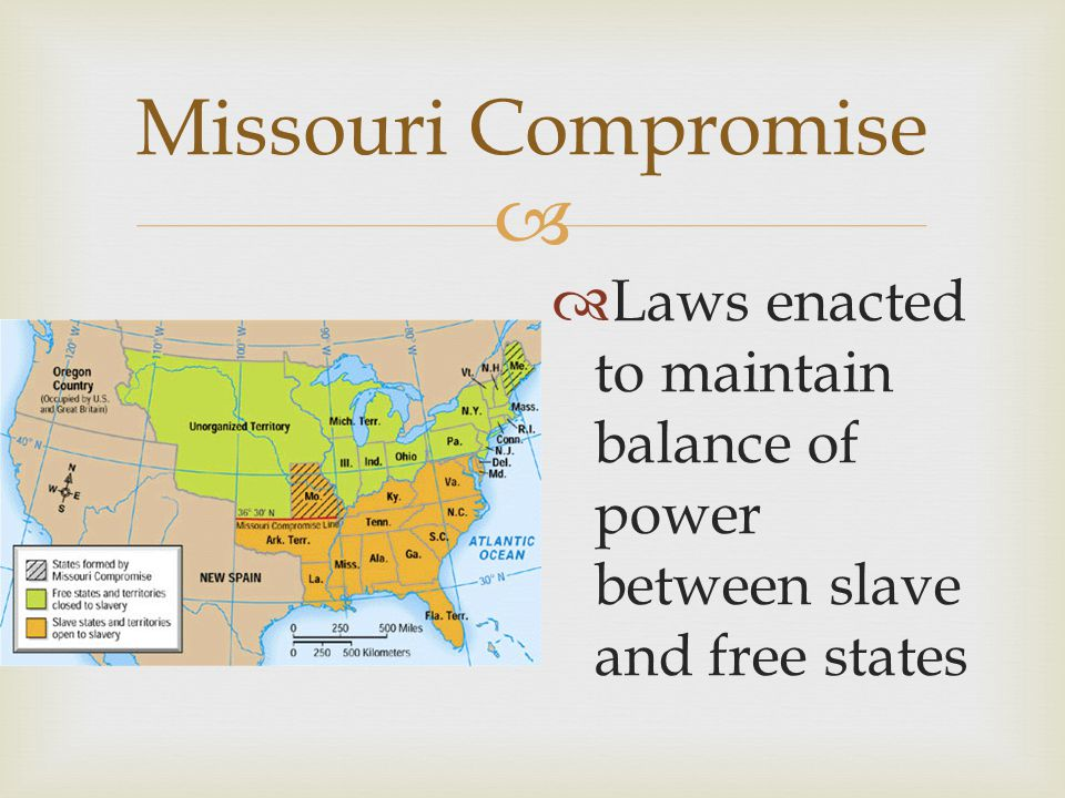 Missouri Compromise Laws enacted to maintain balance of power between slave and free states