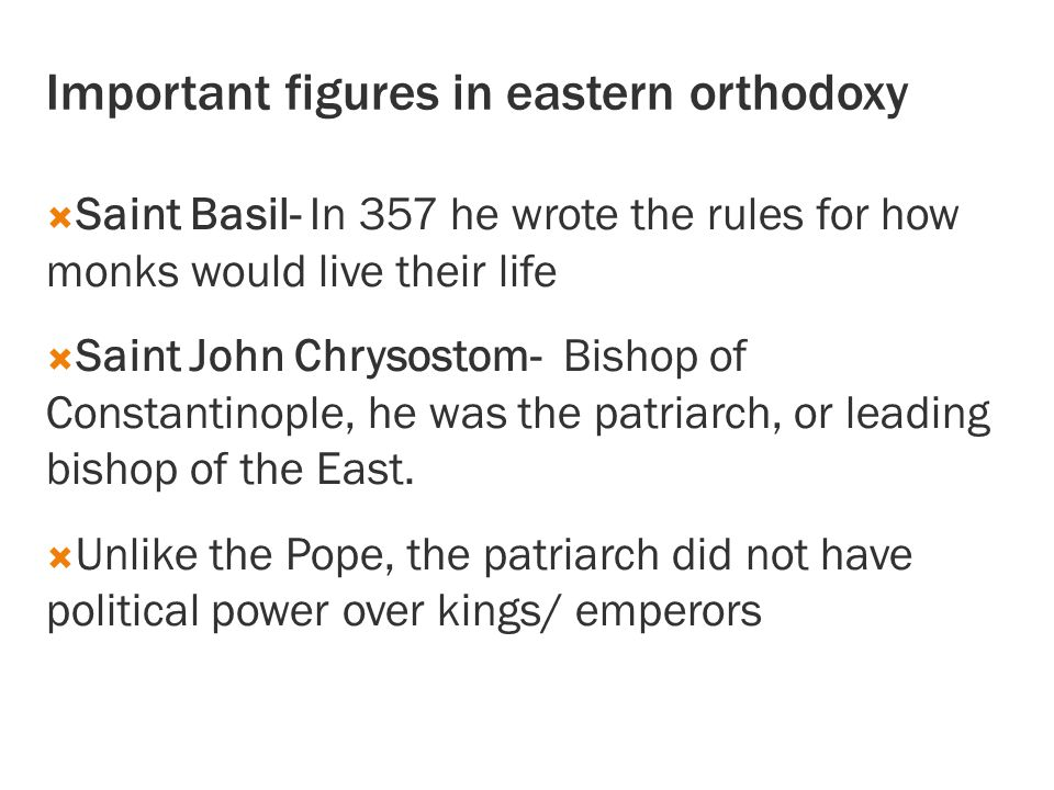 Important figures in eastern orthodoxy