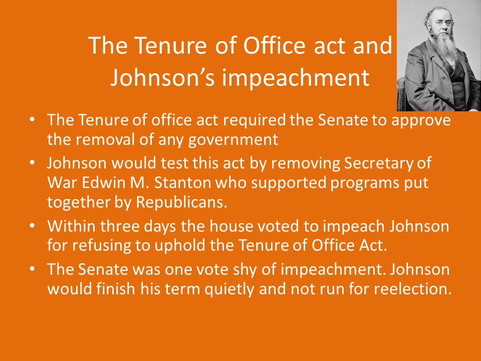 The Tenure of Office act and Johnson's impeachment