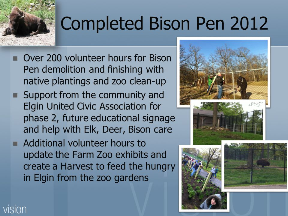Completed Bison Pen 2012 Over 200 volunteer hours for Bison Pen demolition and finishing with native plantings and zoo clean-up.