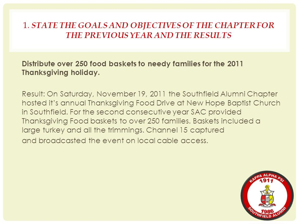 1. STATE THE GOALS AND OBJECTIVES OF THE CHAPTER FOR THE PREVIOUS YEAR AND THE RESULTS