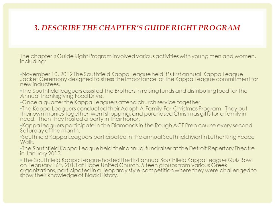 3. DESCRIBE THE CHAPTER'S GUIDE RIGHT PROGRAM