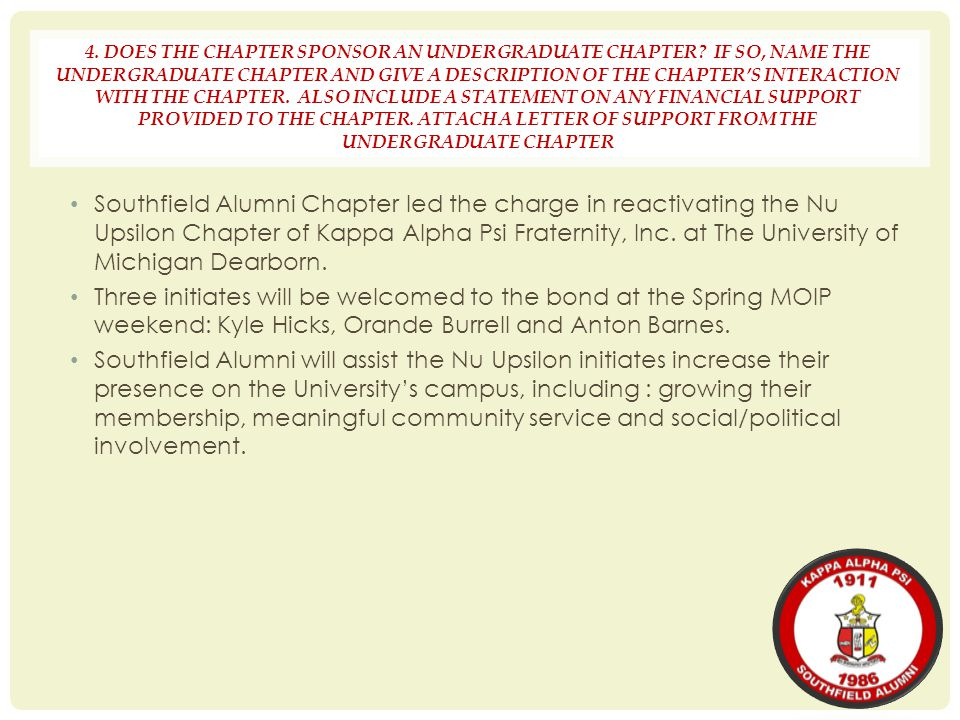 4. DOES THE CHAPTER SPONSOR AN UNDERGRADUATE CHAPTER