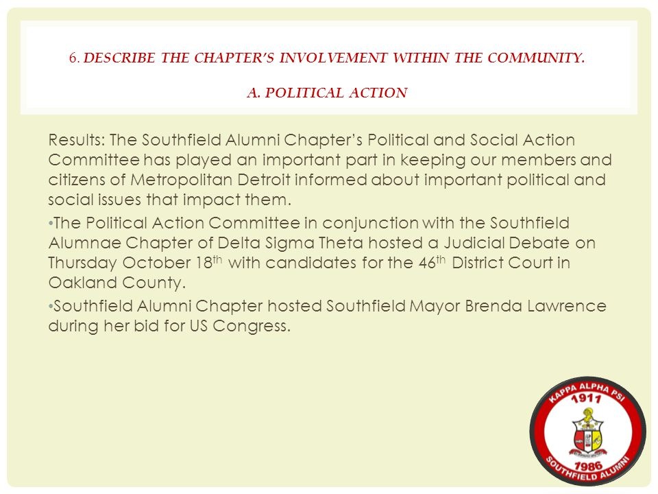 6. DESCRIBE THE CHAPTER'S INVOLVEMENT WITHIN THE COMMUNITY. A