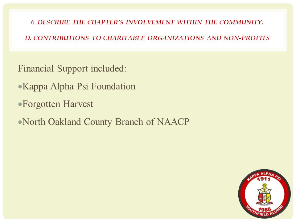 Financial Support included: Kappa Alpha Psi Foundation