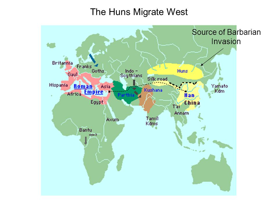The Huns Migrate West Source of Barbarian Invasion