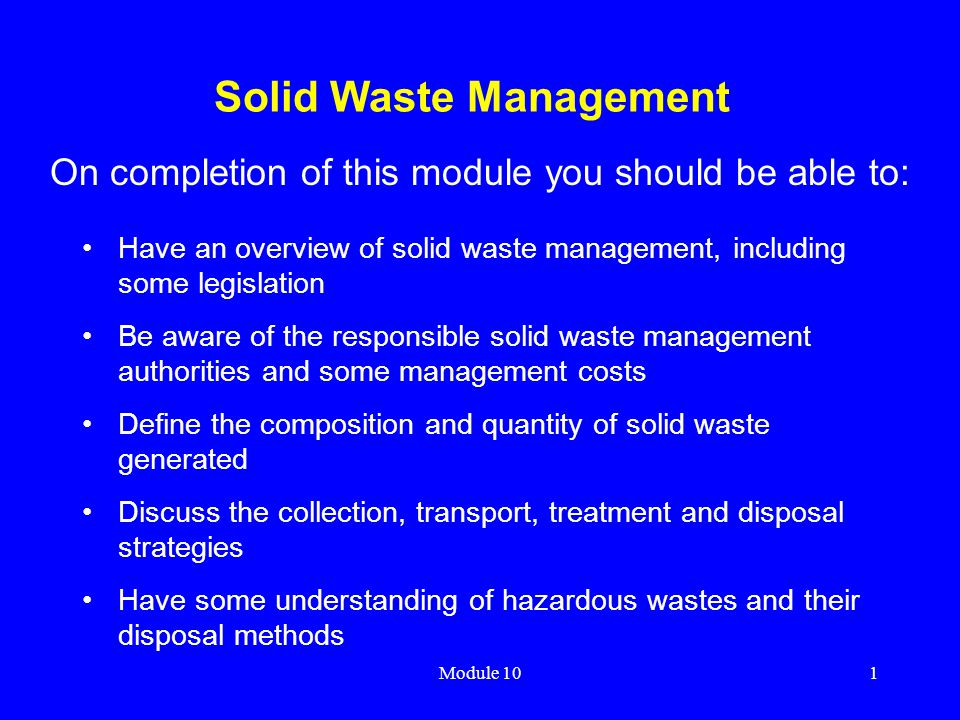understanding solid waste management According to waste business journal's waste market overview & outlook 2012, the total volume other solid waste management segments: special and.