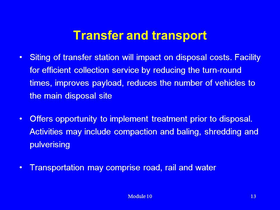 Transfer and transport
