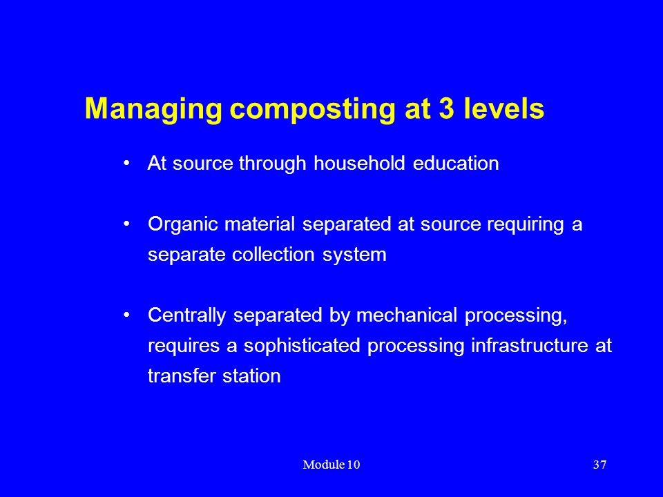 Managing composting at 3 levels