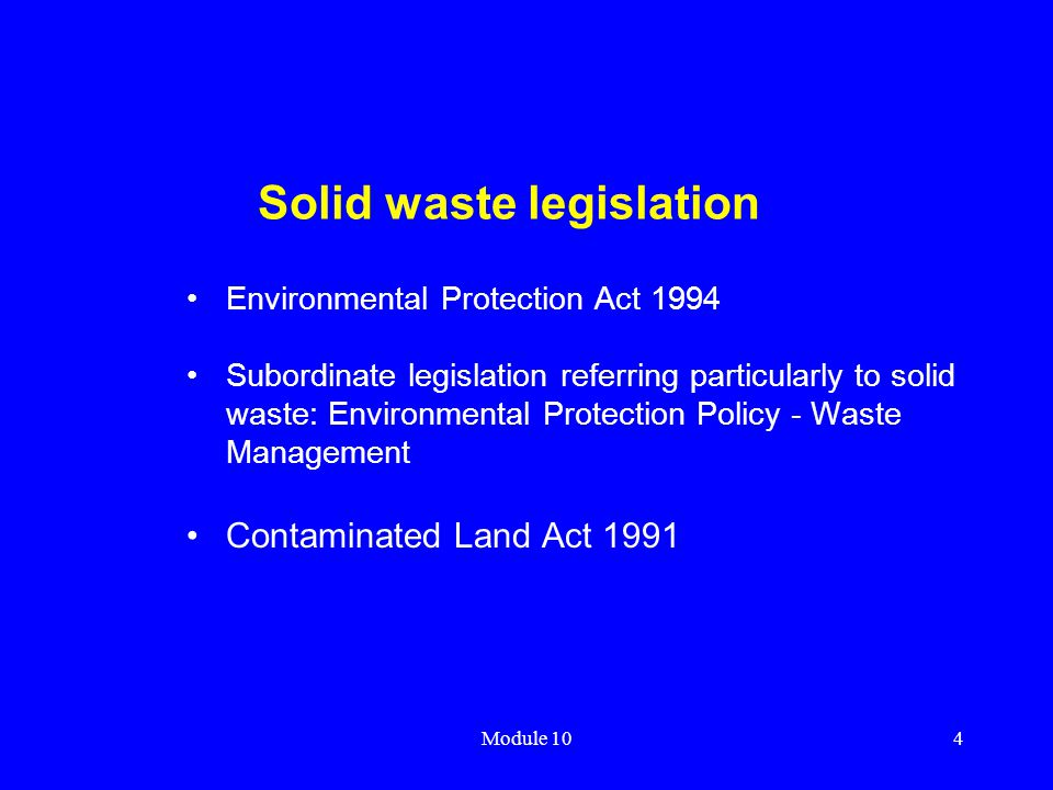 Solid waste legislation