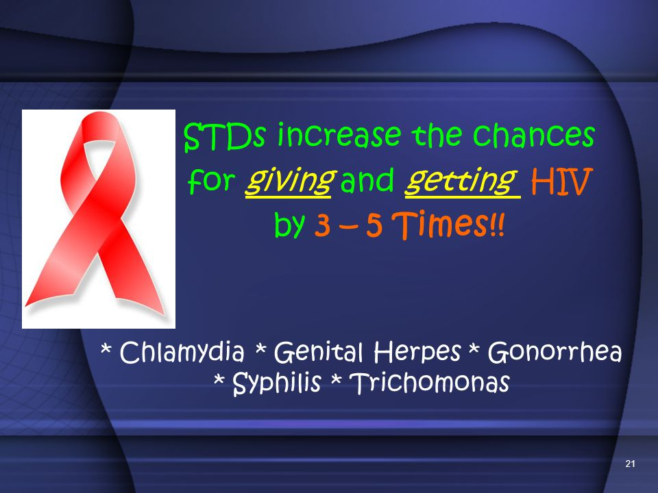 STDs increase the chances for giving and getting HIV by 3 – 5 Times!!