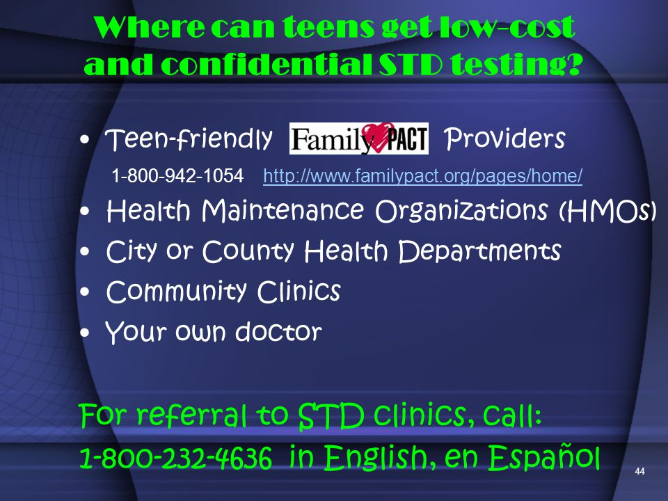 Where can teens get low-cost and confidential STD testing