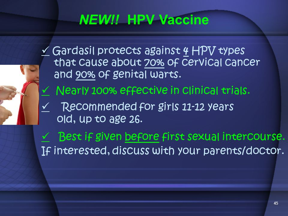 NEW!! HPV Vaccine  Gardasil protects against 4 HPV types