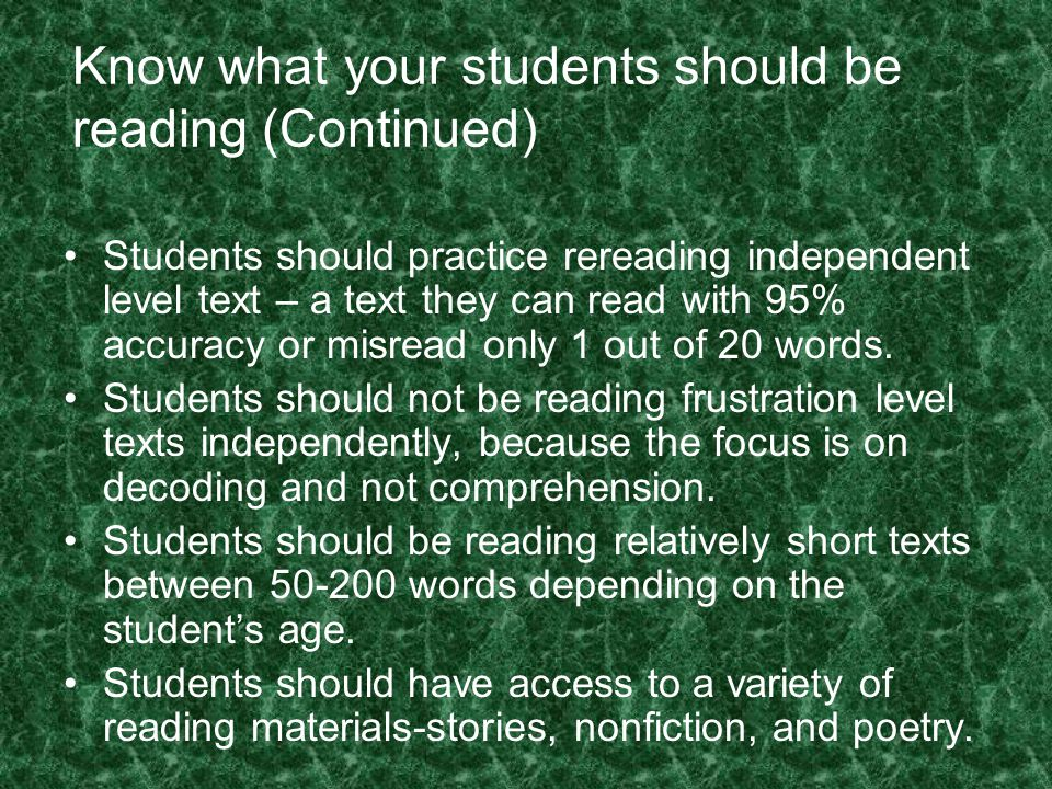 Know what your students should be reading (Continued)