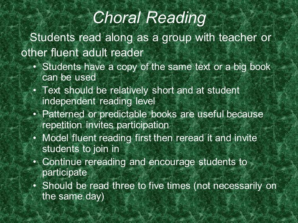 Students read along as a group with teacher or