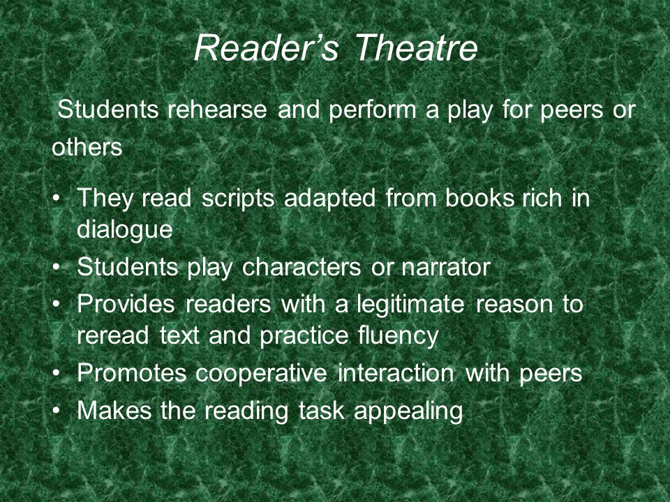Students rehearse and perform a play for peers or