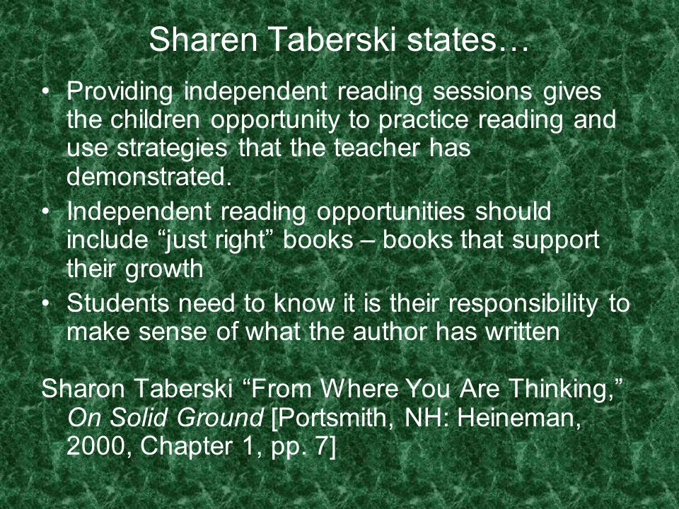 Sharen Taberski states…