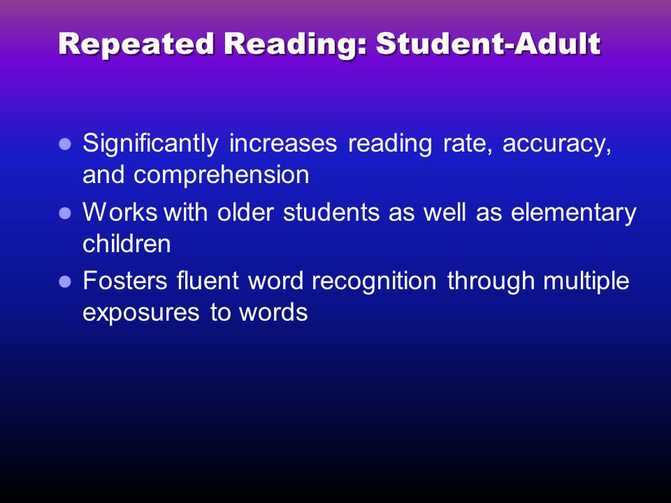 Repeated Reading: Student-Adult