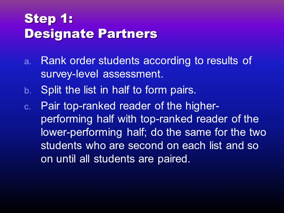 Step 1: Designate Partners