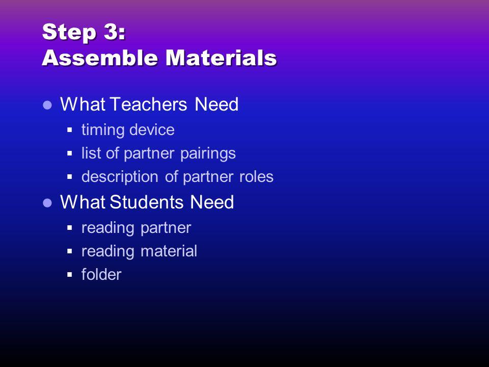 Step 3: Assemble Materials