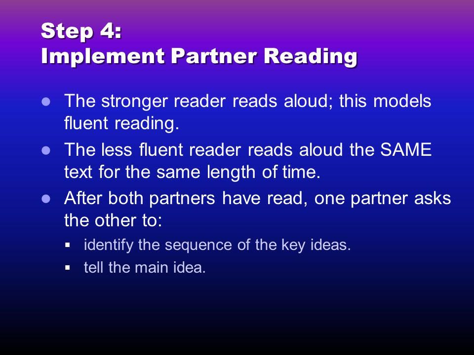 Step 4: Implement Partner Reading