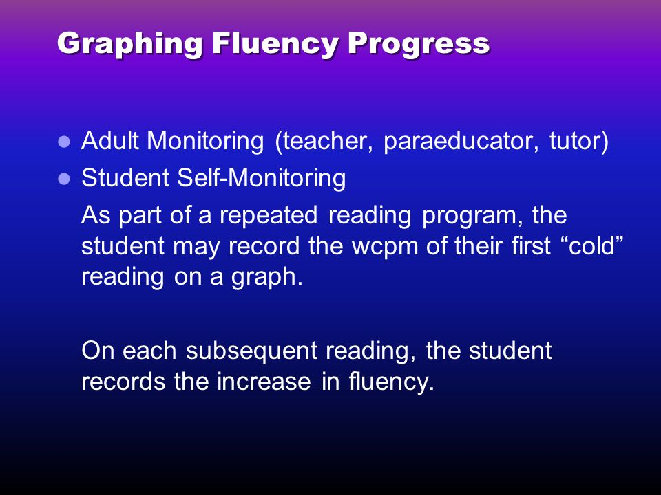 Graphing Fluency Progress