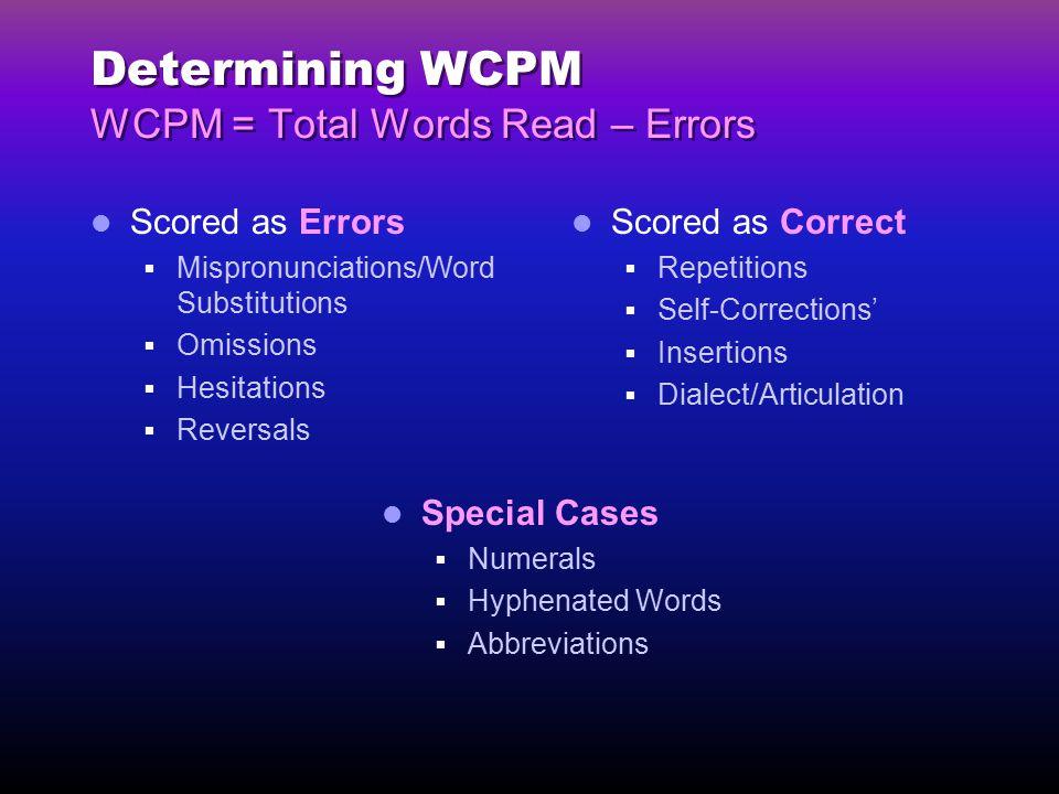 Determining WCPM WCPM = Total Words Read – Errors