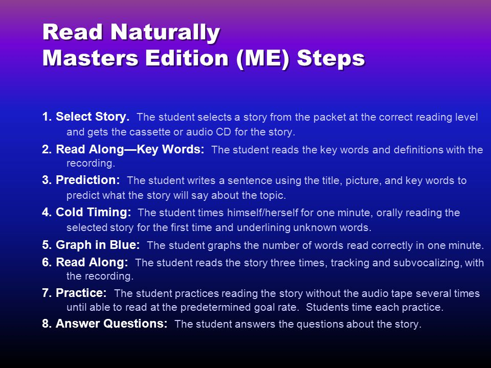 Read Naturally Masters Edition (ME) Steps