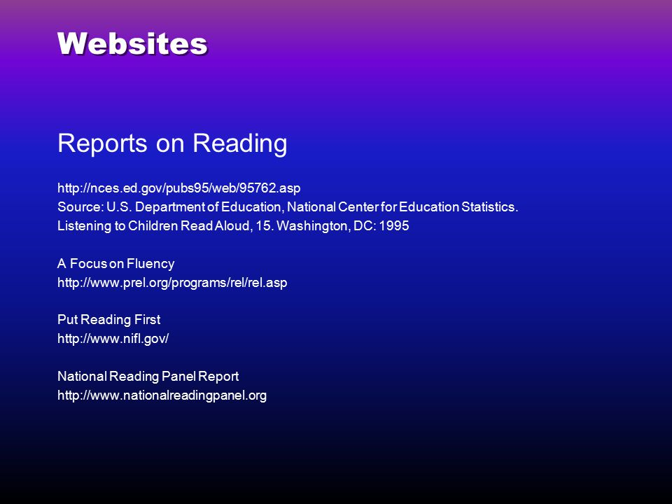 Websites Reports on Reading http://nces.ed.gov/pubs95/web/95762.asp