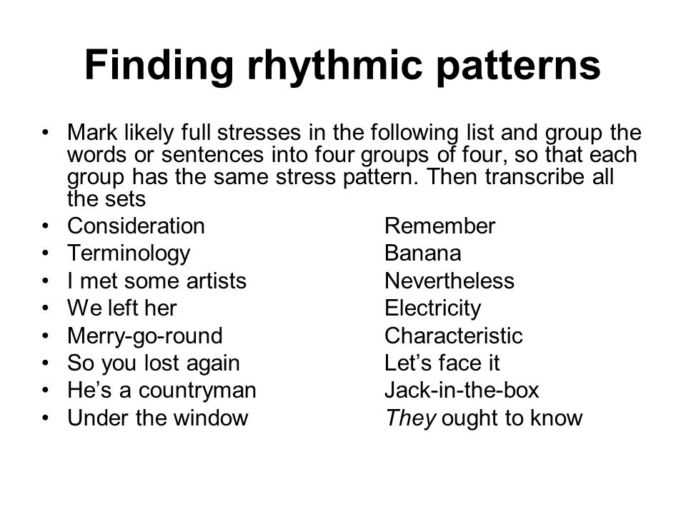Finding rhythmic patterns