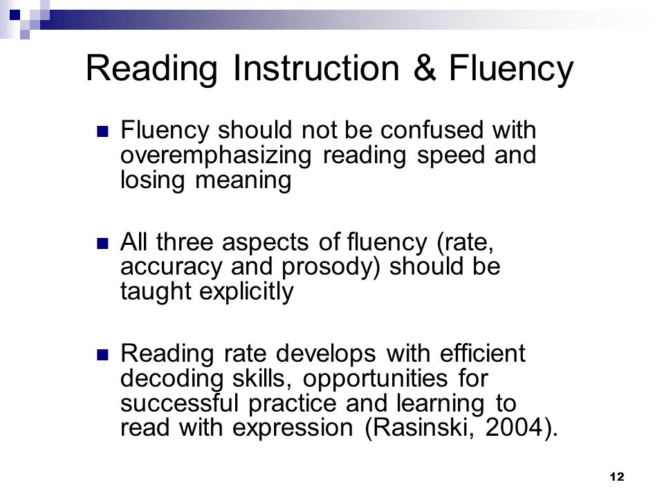 Reading Instruction & Fluency