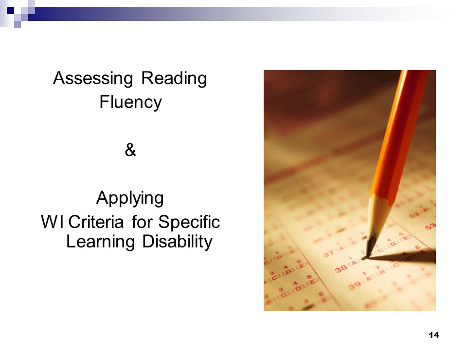 WI Criteria for Specific Learning Disability