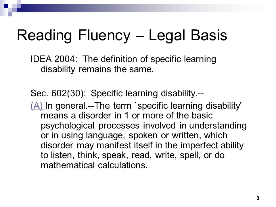 Reading Fluency – Legal Basis