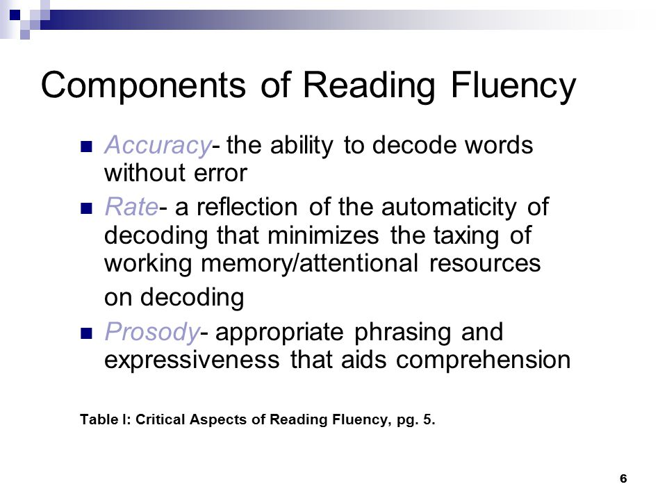 Components of Reading Fluency