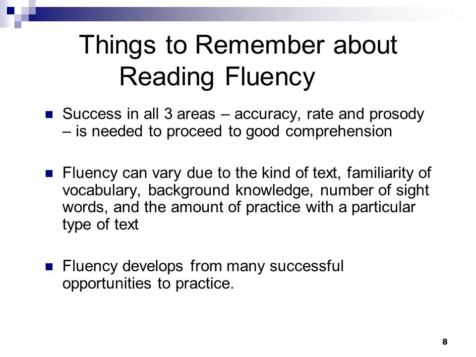 Things to Remember about Reading Fluency