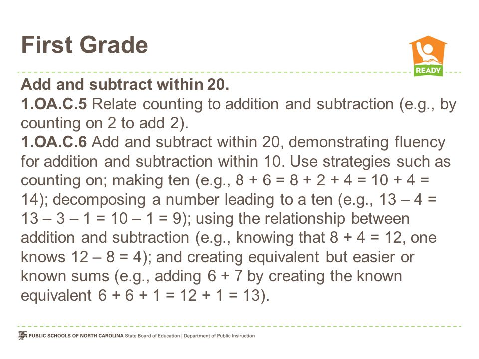 First Grade Add and subtract within 20.