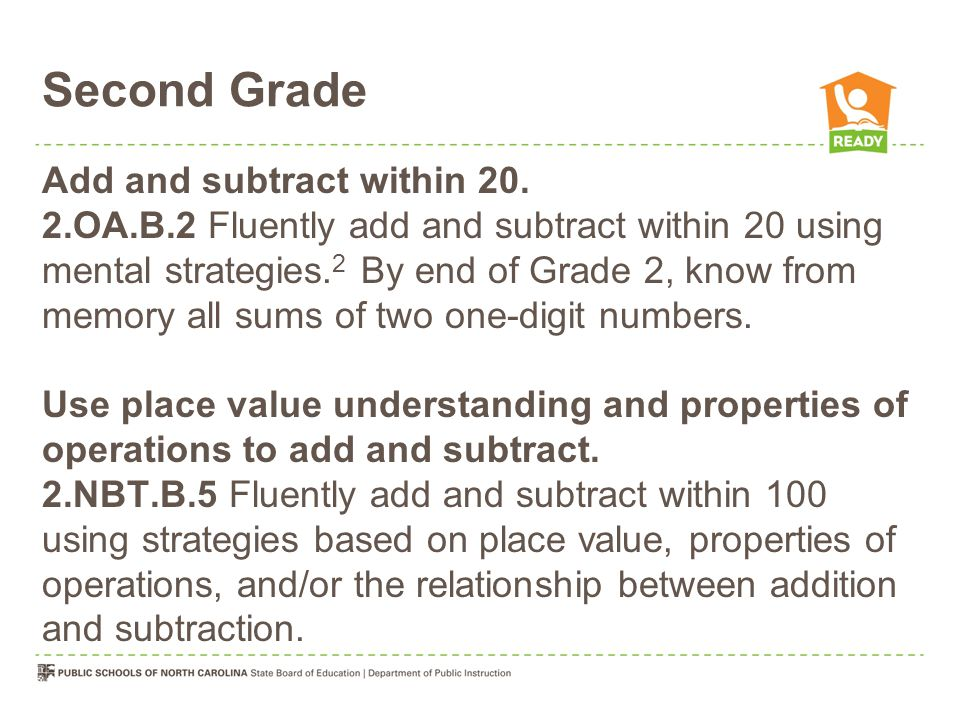Second Grade Add and subtract within 20.