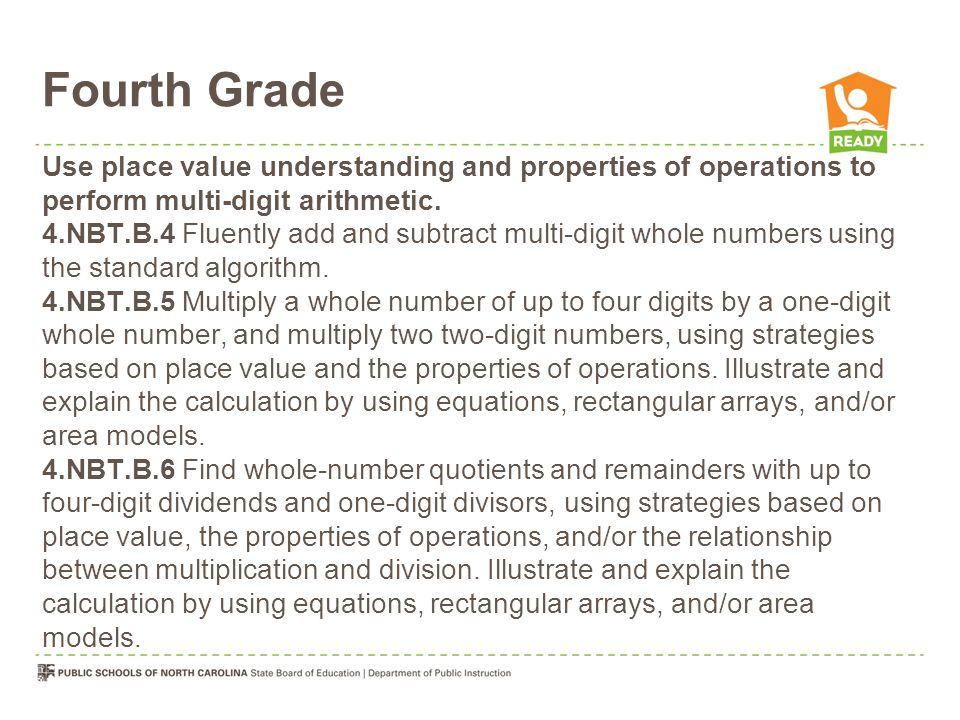 Fourth Grade Use place value understanding and properties of operations to perform multi-digit arithmetic.