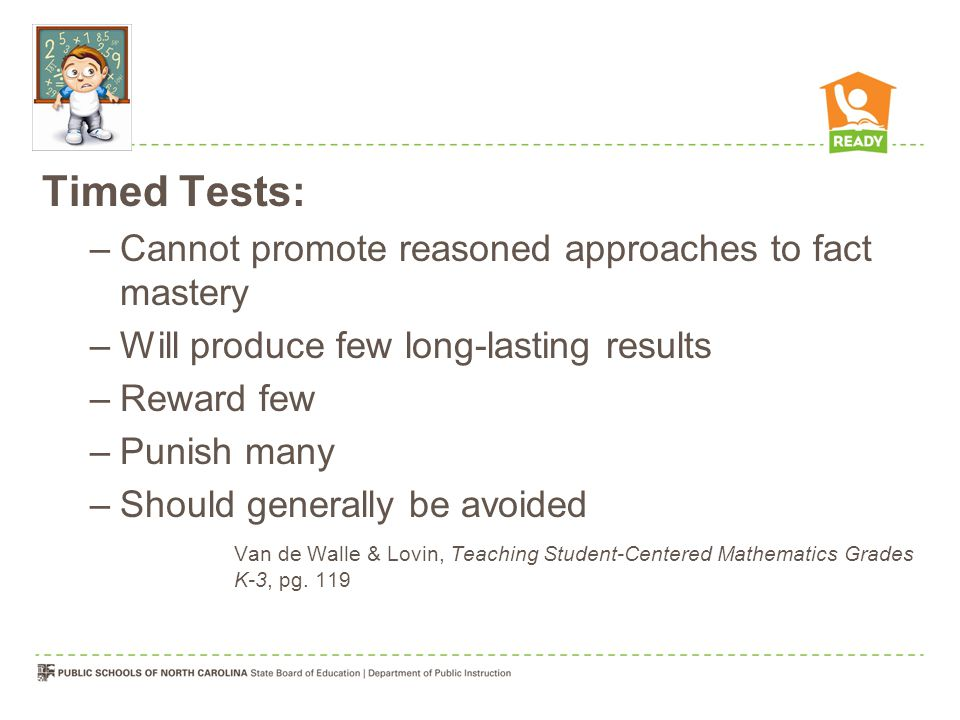 Timed Tests: Cannot promote reasoned approaches to fact mastery