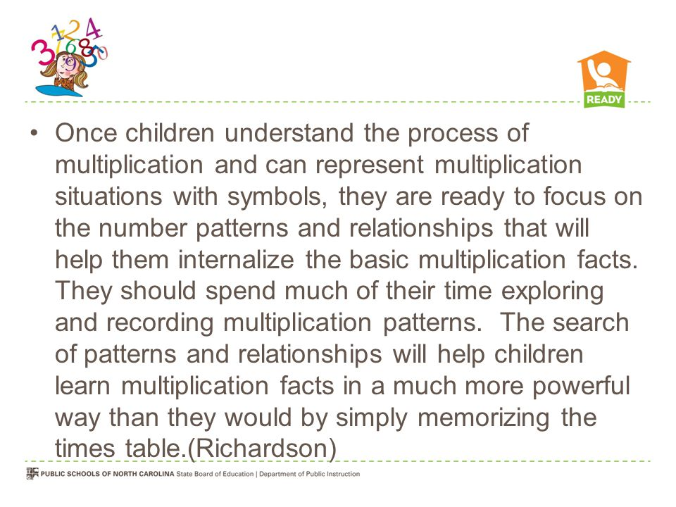 Once children understand the process of multiplication and can represent multiplication situations with symbols, they are ready to focus on the number patterns and relationships that will help them internalize the basic multiplication facts.