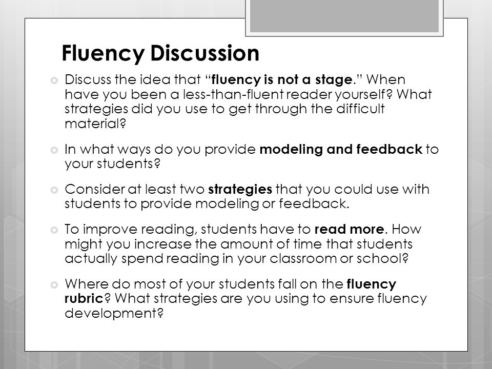 Fluency Discussion